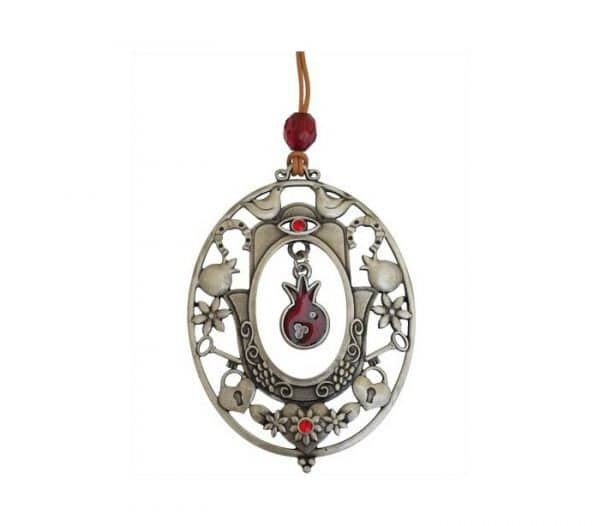 Oval Shaped Hanger Featuring Hamsa and a Hanging Pomegranate