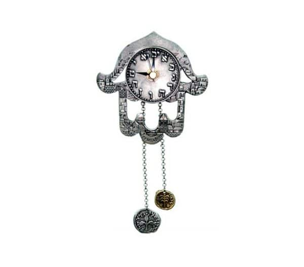 Jerusalem Hamsa Clock with Coins Chain