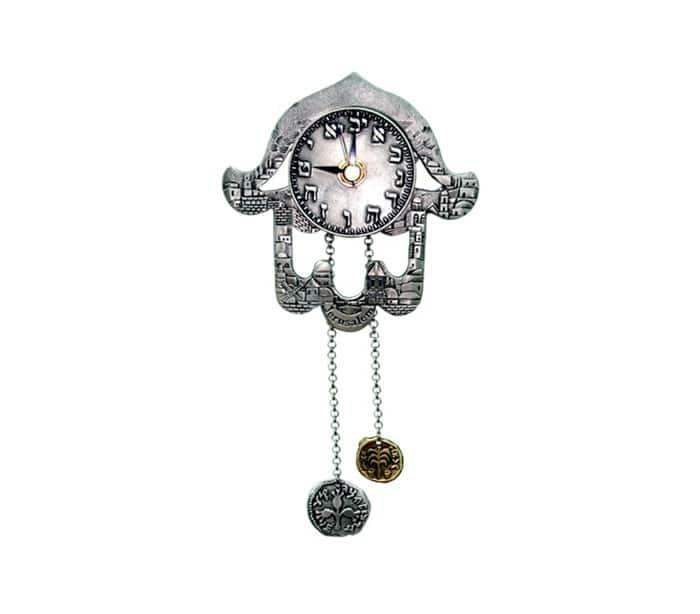 Reloj Hamsa de Jerusalém con cadena de monedas
