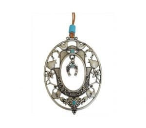 Oval Shaped Hanger Featuring Hamsa and a Hanging Hoof