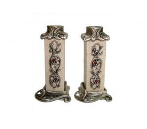 Jerusalem Stone Pomegranate Candlesticks