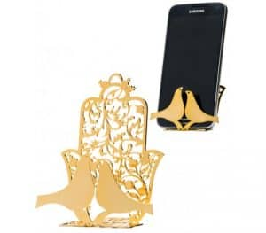 24K Polished Mobile Phone Stand featuring Hamsa and  Doves