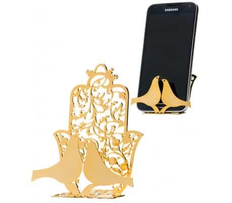 Soporte de teléfono móvil pulido 24K con Hamsa y palomas