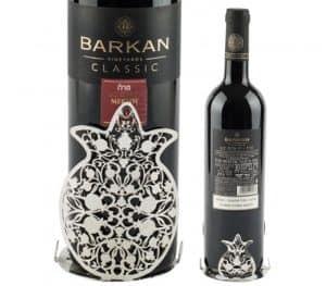 Soporte Chapado en Plata para Botella de Vino - Diseño Granadas