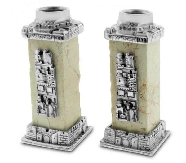 Fine Jerusalem Stone Candlesticks
