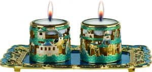 Candleholders: Blue Colored Jerusalem Design