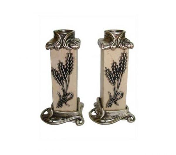 Jerusalem Stone Wheat Candlesticks