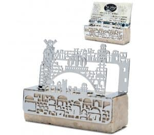Memo/Business cards holder Jerusalem shaped on a fine Jerusalem stone