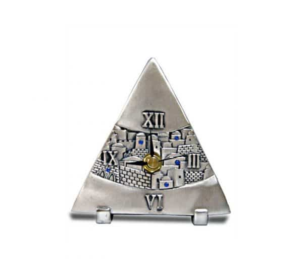 Silver Plated Triangle Table Clock - Jerusalem Design