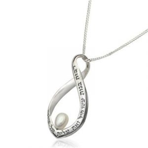 Silver Eternity Women Power Necklace with Pearl