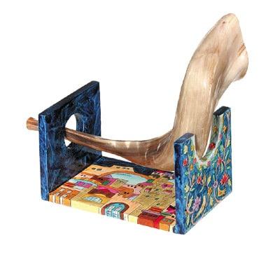 Small Jerusalem shofar stand