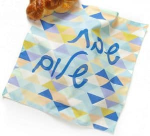 Challah Cover - Aqua Flower Tile