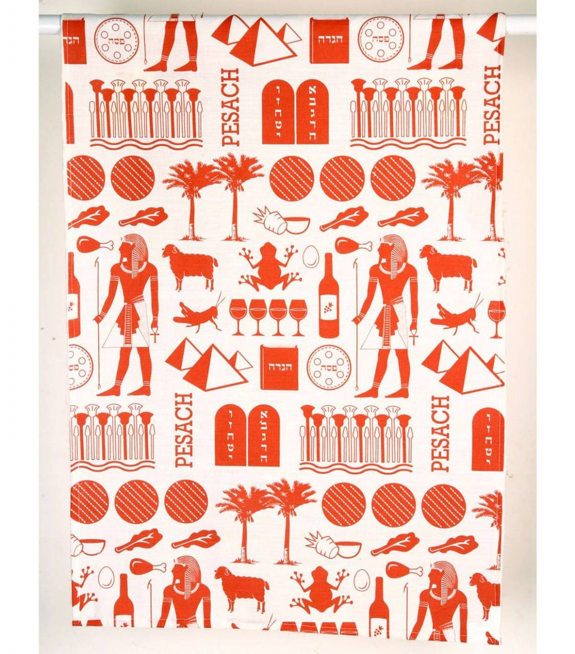Pharaoh Print Dish Towel - Brick Red