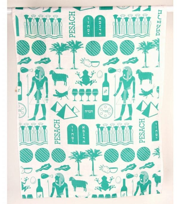 Pharaoh Print Dish Towel - Teal