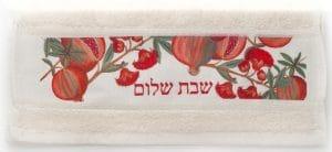 'Shabbat Shalom' Pomegranate Flower Hand Towel