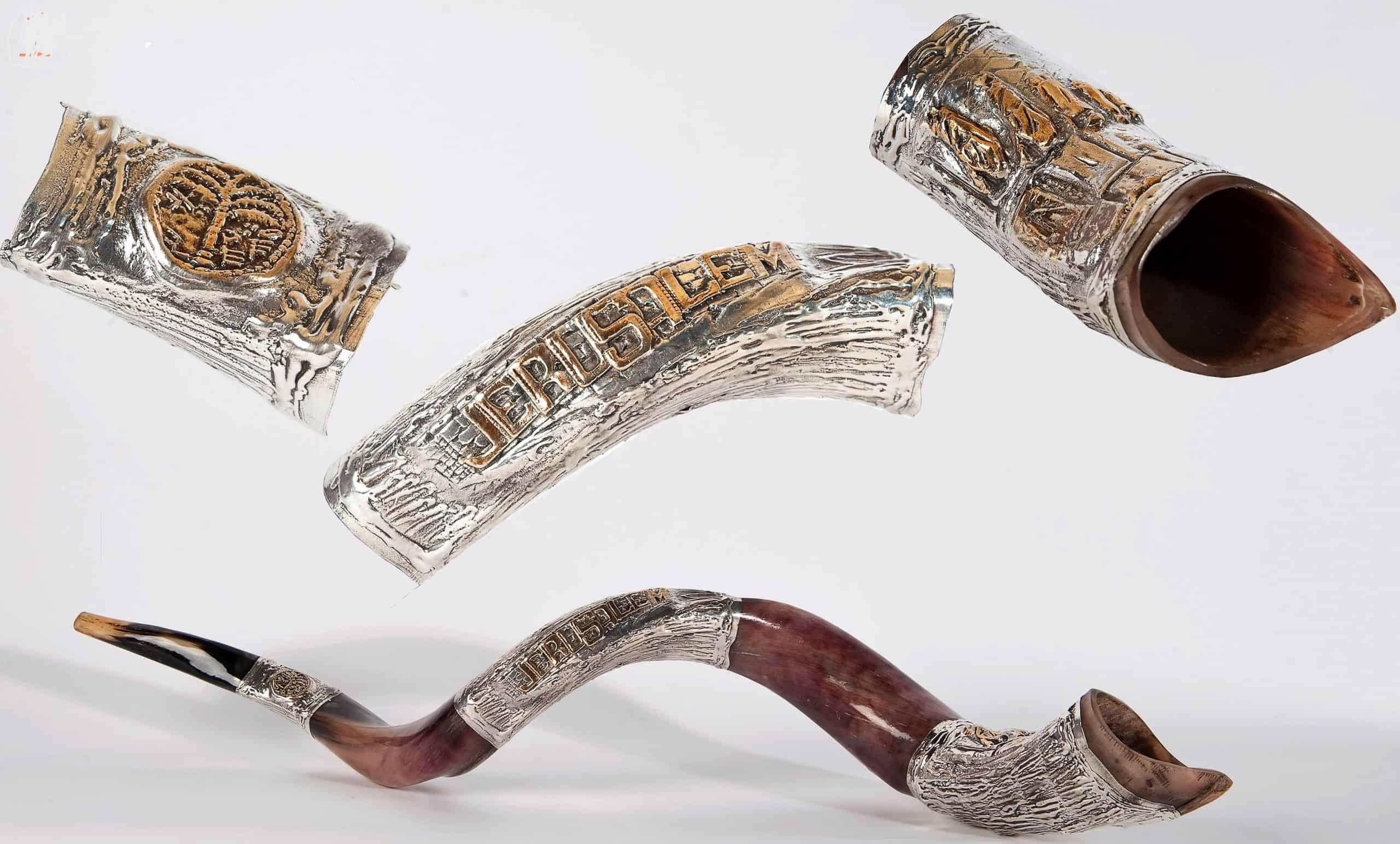 Sterling Silver Plated Yemenite Shofar - Jerusalem Design