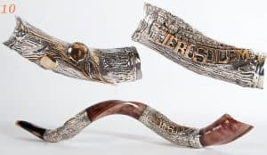 Sterling Silver Plated Yemenite Shofar - Jerusalem Design