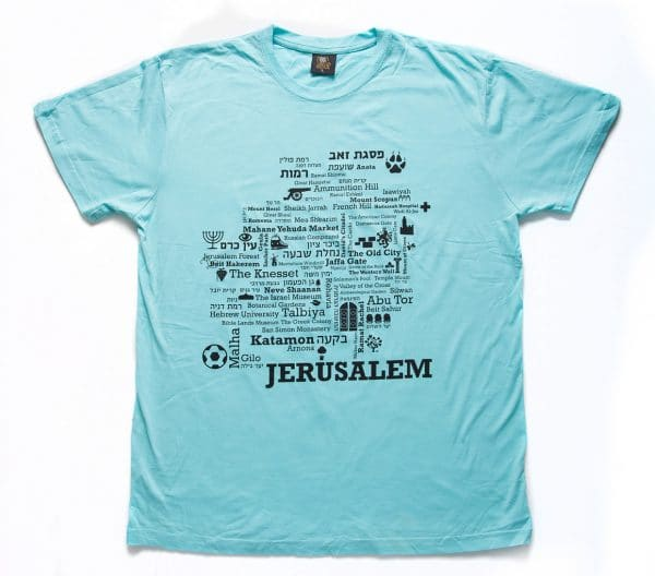 Jerusalem Word Map T Shirt - Aqua, Product