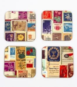 Conjunto de 4 posavasos - Estampillas Israelíes.