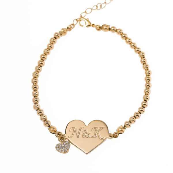 Hebrew Name Balls Bracelet Gold Plated