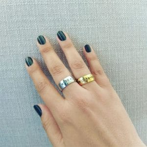 Name Thick Ring with Shiny Gold Coating