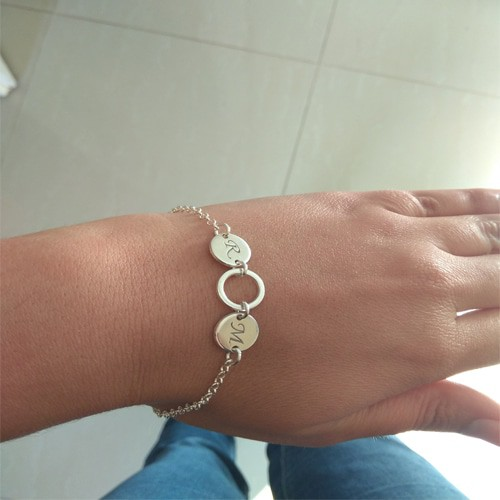 Hebrew Name 925  Silver Circles Bracelet