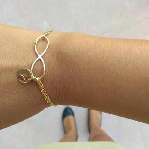 Hebrew Name Infinity Bracelet with Pendant