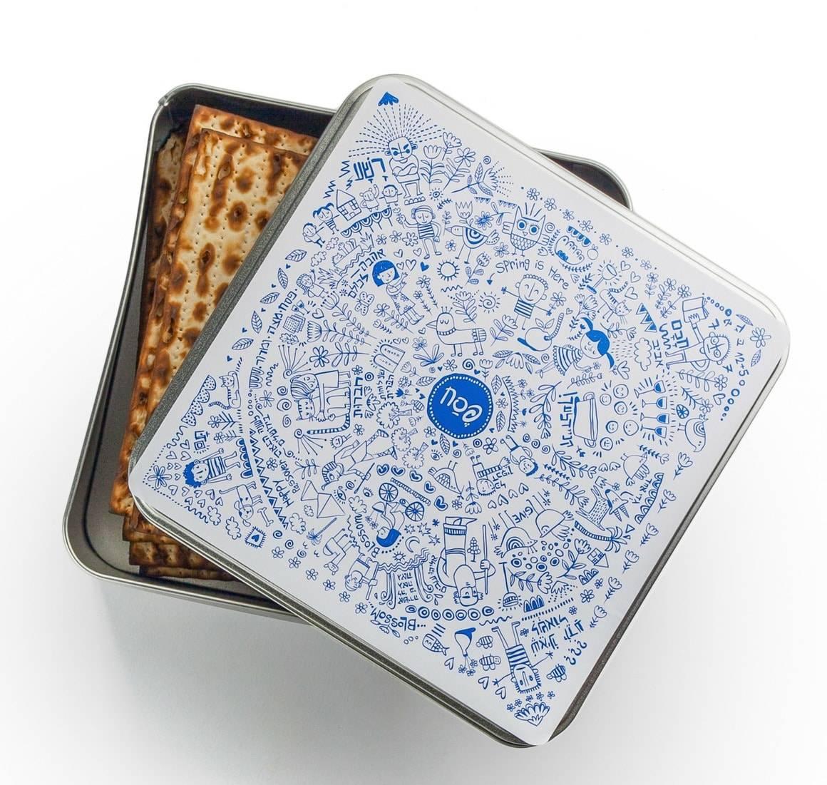 Caja de almacenamiento de lata de Matzá - Haggadah