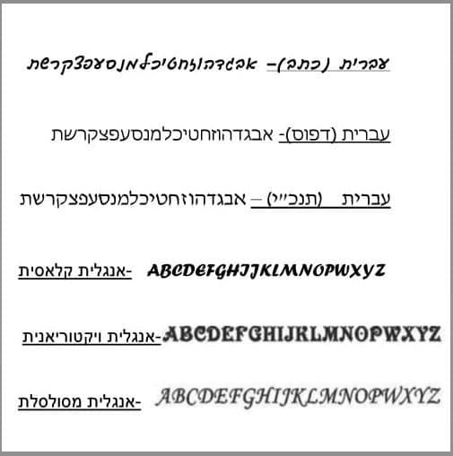 Hebrew Name  Rectangular Seal Ring -Silver