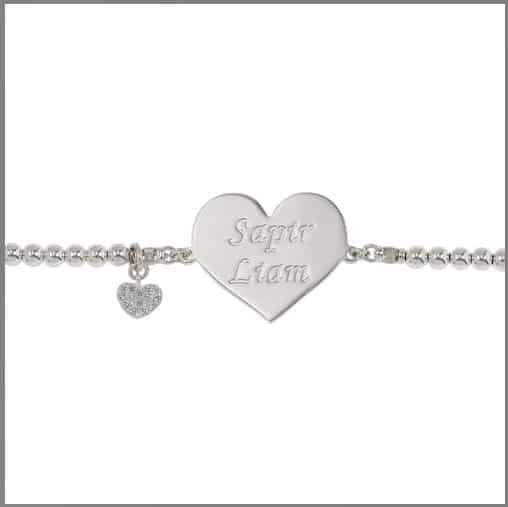 Hebrew Name Silver Sterling Balls Bracelet -