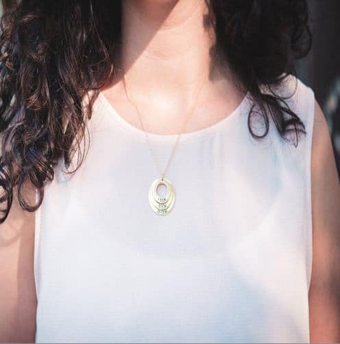 Hebrew Name Necklace - Gold Plated Layers of Circles