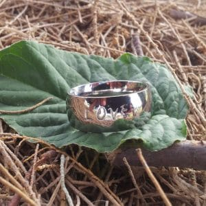 Silver Hebrew Name Ring - Shiny finish