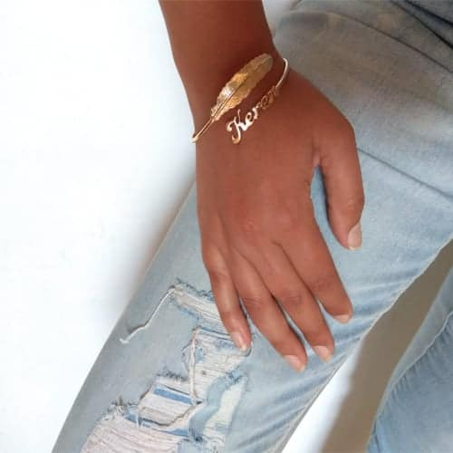 Hebrew Name Gold Plated Bracelet with Name