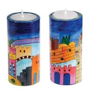 Yair Emanuel Round Candlesticks- Jerusalem (Large)