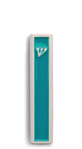 Modern Mezuzah design the classic ש (Shin) letter -Turquoise