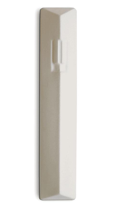 Mezuzah Concreta Forma Geométrica de La Letra ש (Shin) - Blanco