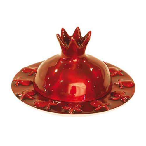 Honey Dish - Pomegranate - Painted - Red