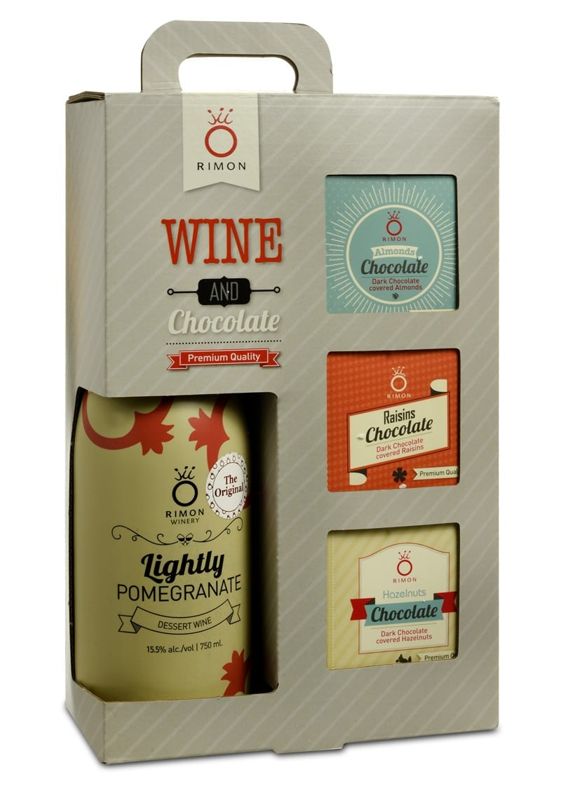 Pomegranate Wine and Chocolate Bars Gift Set