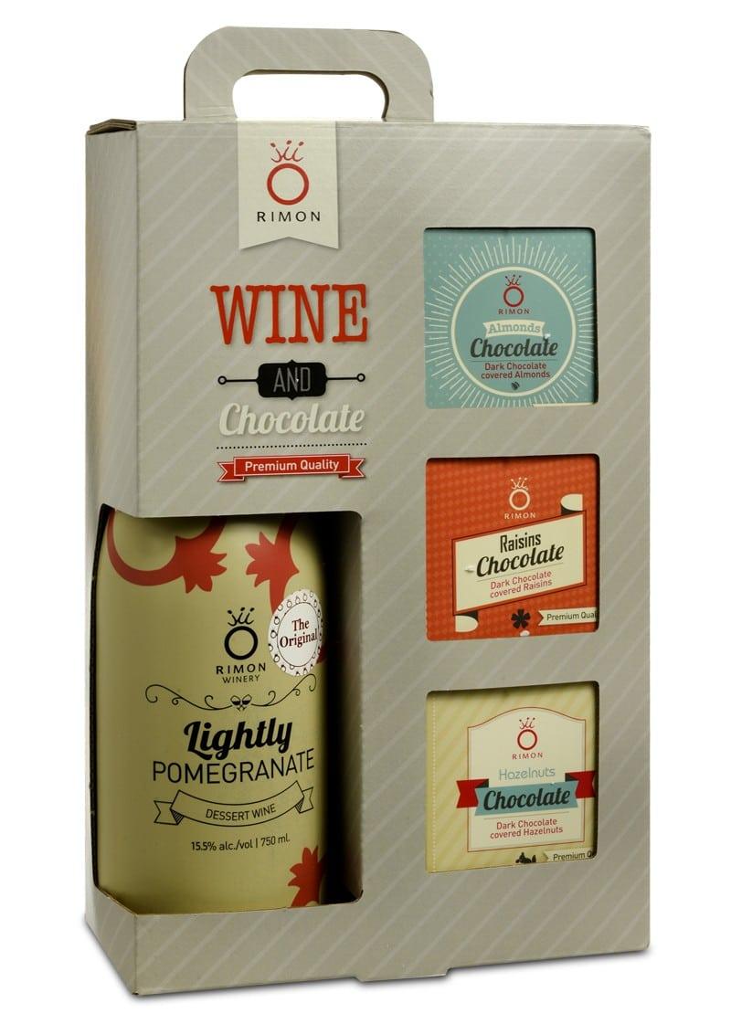 Pomegranate Wine and Chocolate Bars Gift Set