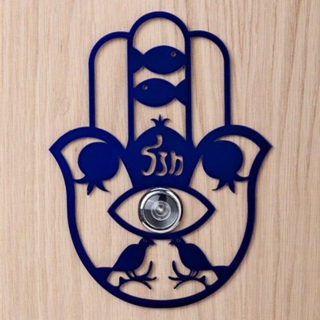 Chamsa contra el mal de ojo - una decoración de puerta para la mirilla de la puerta - Pequeño, azul