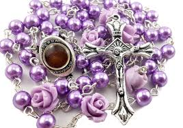 Purple Color Pearl Beads Rosary with 6pcs Our Rose Our Facther Beads