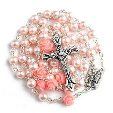Pink Color Pearl Beads Rosary with 6pcs Our Rose Our Father Beads