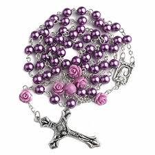 Rosario de Cuentas de Perlas de Color Púrpura Con 6 Piezas Nuestra Rosa Nuestras Cuentas de Facther