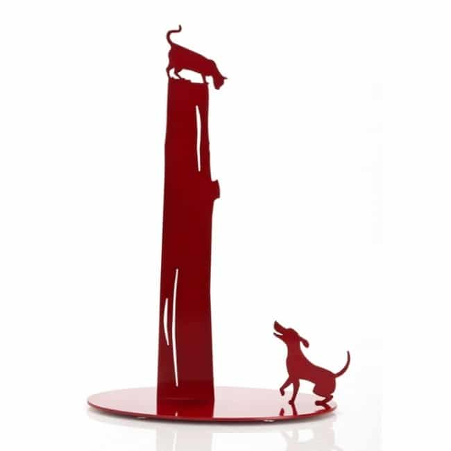 Dog vs. Cat - Black - Metal Paper Towel Holder by Artori Design