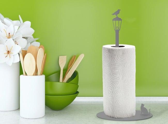 Cat vs. Crow - Metal Kitchen Paper Towel Holder // Paper Roll Holder