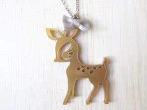 Bambi and Bow Tie Necklace
