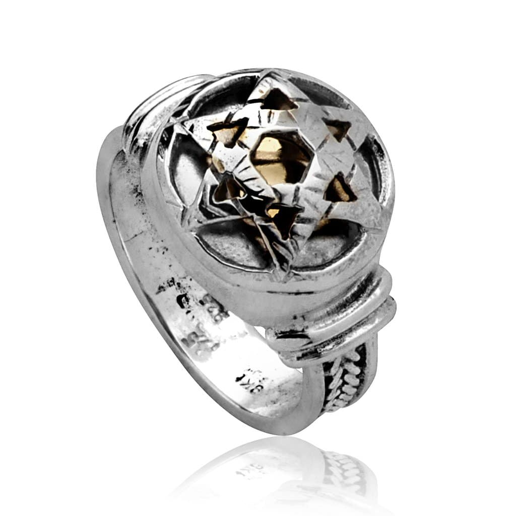 Star of David Silver 5 Elements Kabbalah Ring by HaAri