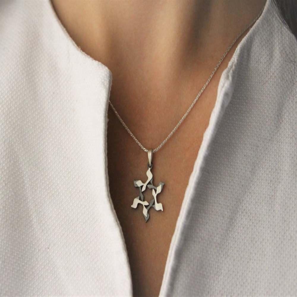 Silver leather Star of David Bracelet - Hebrew Letter