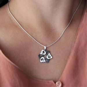 Silver David Star Necklace with the Hebrew letter