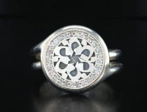 MEM Hebrew letter Sterling Silver with Diamonds Star of David Ring